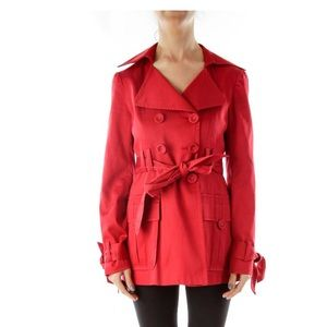 Nanette Lepore Red Belted Trench Coat Size 0